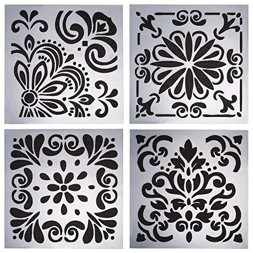 GORGECRAFT - Plantilla reutilizable para pintura con diseño de mandala, 4 unidades, para manualidades, madera, rocas, paredes, 6 x 15 cm