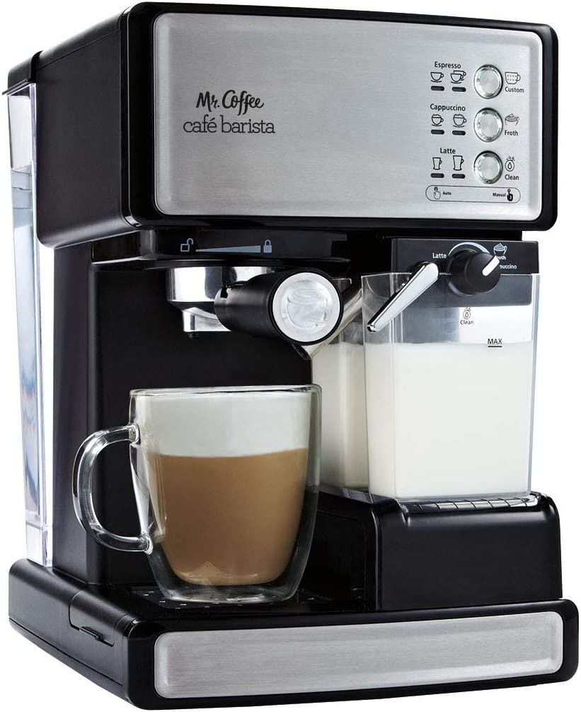 Mr. Coffee Cafe Barista sale Black Maker Pack OFFicial shop Espresso Silver 2