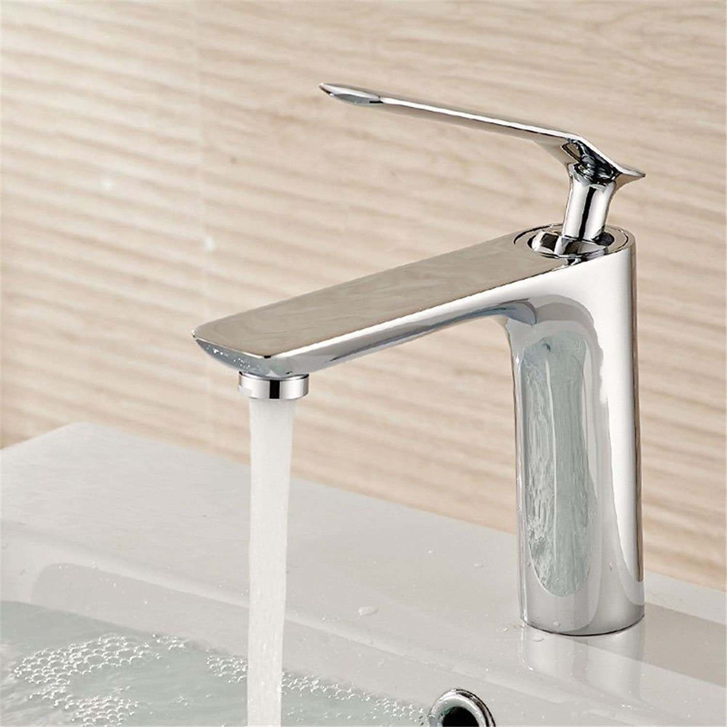 AQMMi Basin Sink Tap Bathroom Bar Faucet White Stoving Lacquer Hot and Cold Water Brass 1 Hole Single Lever Single Lever Bathroom Basin Sink Faucet