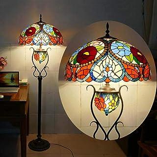 Ø50CM Vintage Tiffany Salon Lampadaire Sur Pied Avec Interrupteur Rétro Lampe De Sol Art Déco Papillon Manuel Vitrail Abat...