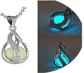Fashion Women The Little Mermaid's Teardrop Glow in Dark Charm Pendant Necklace