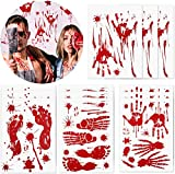 Halloween Decorations Stickers, Bloody Handprint Footprint Bloodstain Spooky Spider Bat Decals, Window Stickers Floor Clings Bathroom Wall Decals for Halloween Party(6 Sheet,118 pcs)