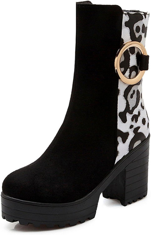 Fashion Heel Women's Chunky Heel Round Toe Leopard Print Platform Boot