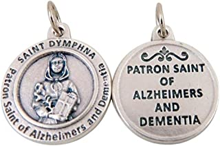 Silver Toned Base Catholic Patron Saint Medal Pendant, 3/4 Inch