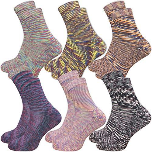 GAWILO 6 Paar warme Damen Socken – Thermo Sohle – ohne drückende Naht (39-42, farbig 1)