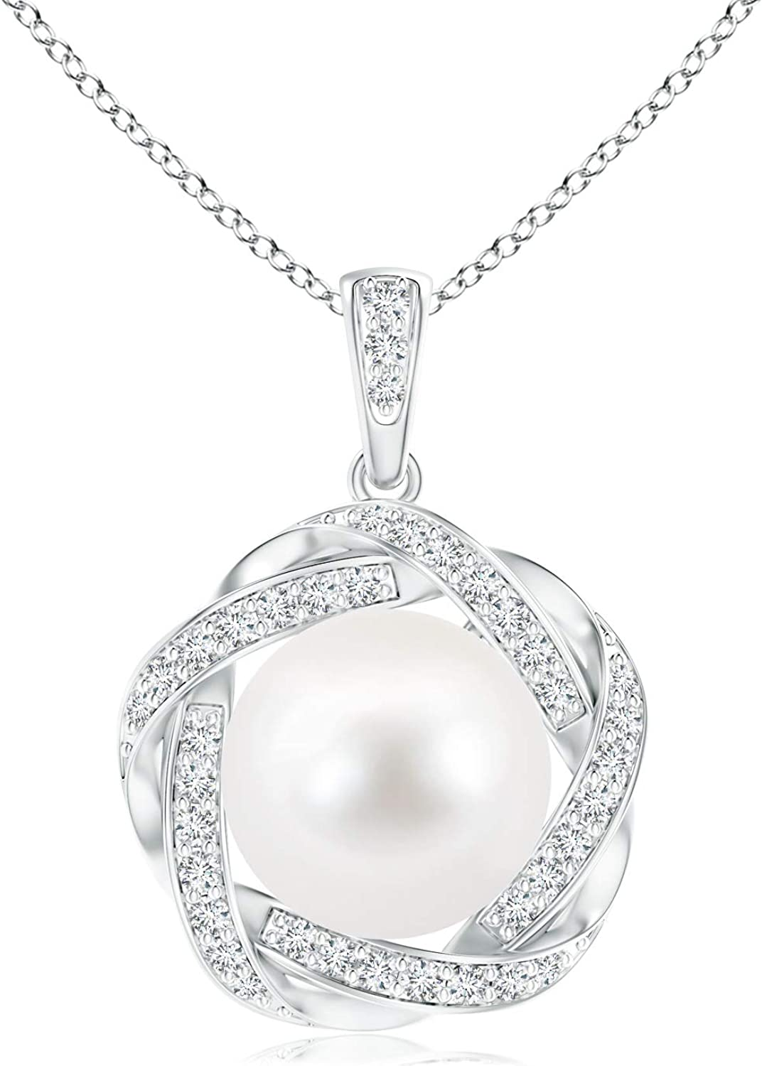 Freshwater Cultured Pearl Max 86% OFF Pendant with Braided Halo Diamond favorite 10m