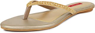 SOLES Women Espadrille Gold Party Thong Slip-On Flats