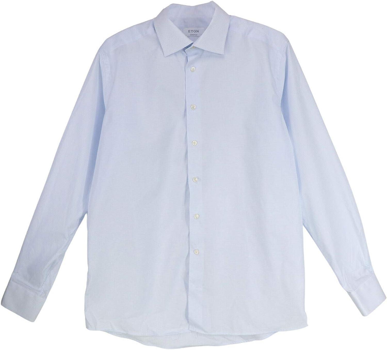 Eton Men's Sky Blue Contemporary Fit Checked Dress Shirt Casual Button-Down - 44-17.5 (XL)