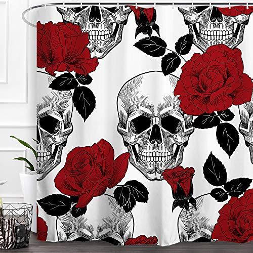 Baccessor Skulls Shower Curtain Sugar Rose Flowers Skull Skeleton Halloween All Saints Day Black and White Waterproof…