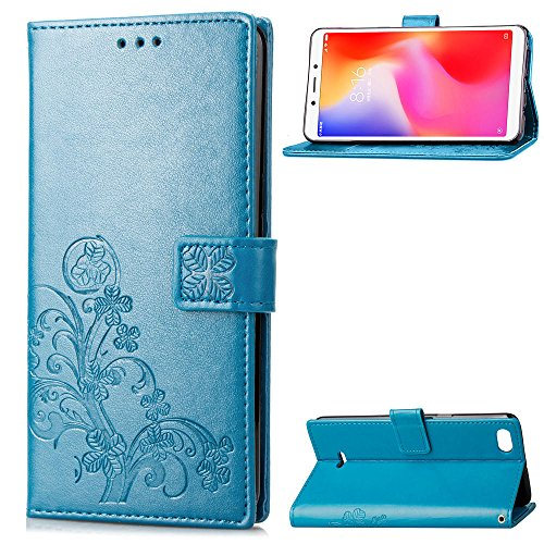 LAGUI Funda Adecuado para Xiaomi Redmi 6A, Los Adornos Bien Definidos y Grabados Carcasa Tipo Libro, de ranuras para tarjetas y soporte horizontal y solapa con cierre magnético, azul