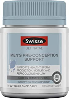 Swisse Premium Ultinatal Men's Pre-Conception Supplement | Promotes Healthy Sperm Production, Motility, & Reproductive Health | CoQ10, Lycopene, Selenium, Zinc, & More | 30 Softgels per Bottle