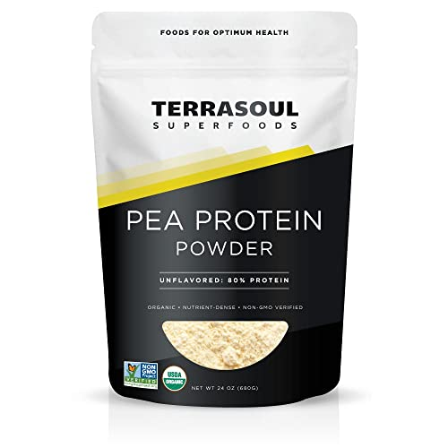 Terrasoul Superfoods Organic Pea Protein (Unflavored, Smooth Texture), 1.5 Pounds