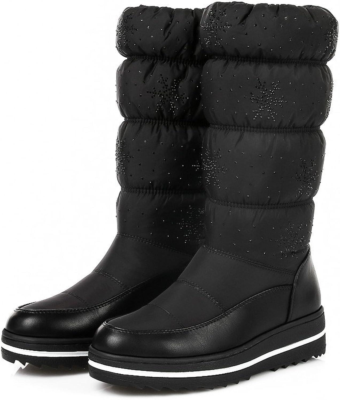 MFairy Woman's Flat Heel Mid-Calf Snow Boots Warm Winter Boots