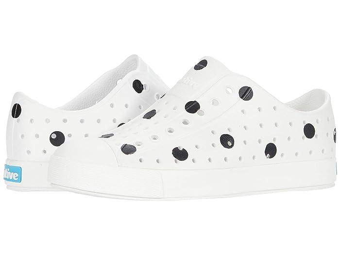 Native Kids Shoes  Jefferson Print (Little Kid) (Shell White/Shell White/Jiffy Black Polka Dots) Girls Shoes