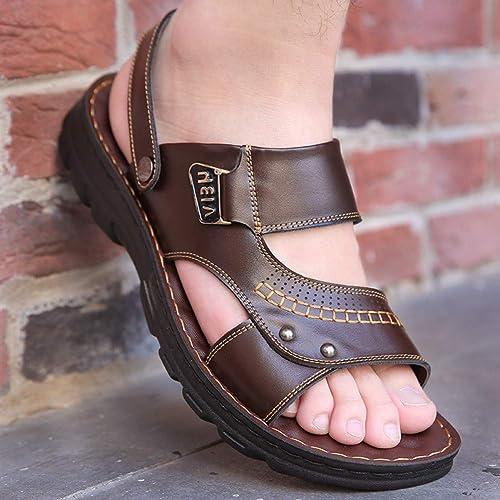 GJLIANGXIE Sandales pour Hommes Sandales Sandales Hommes été Nouvelles Chaussures De Plage Hommes Décontracté Chaussures Antidérapantes en Cuir Bas Souples Sandales en Cuir à Double Usage  meilleure réputation