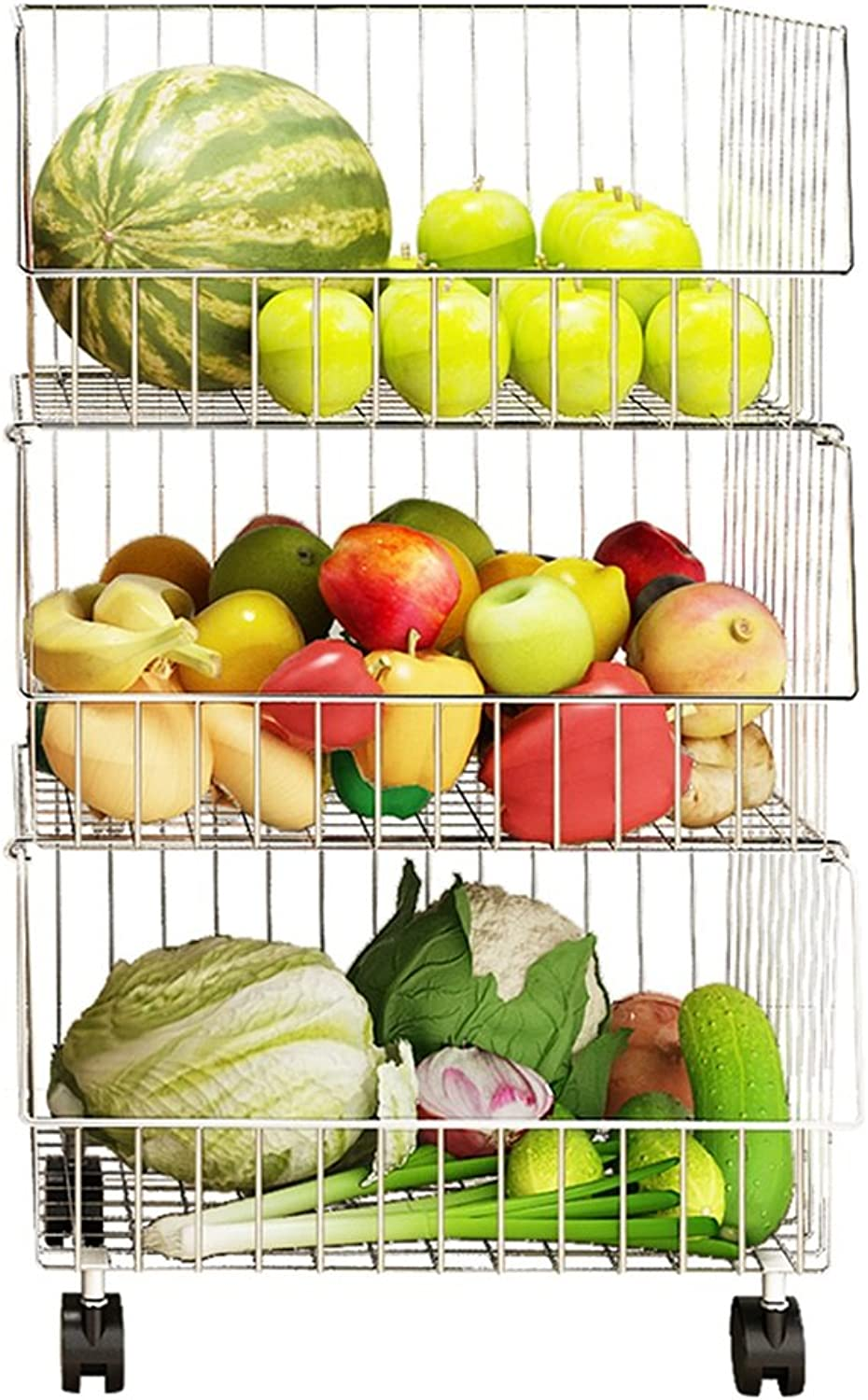 Stackable Unit Storage Rack Kitchen Organizer Shelf Metal Wire Shelving Stainless Steel with wheels (Size   3-Tier)