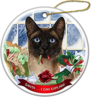 Cheyan Siamese Cat Porcelain Hanging Ornament Pet Gift Santa I Can Explain for Christmas Tree and Year Round