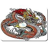 Blived Alfombrilla de baño.Antideslizante,Dragón.Criatura China Tradicional con un Gran gráfico de Tatuaje Popular de Signos del Zodiaco de Perlas Alfombra de Ducha(75cmx45cm)