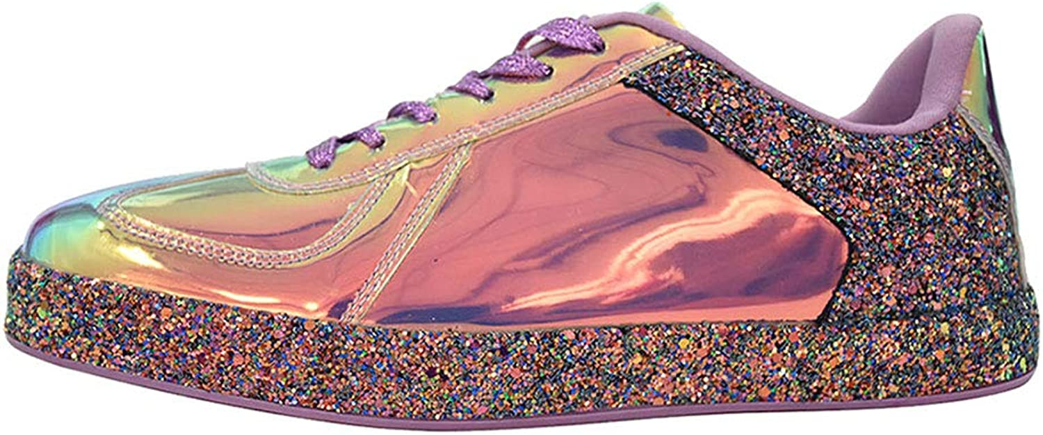 ROXY pink Womens Sneaker Flats Metallic Leather Glitter Fashion Sneakers shoes Lace Up
