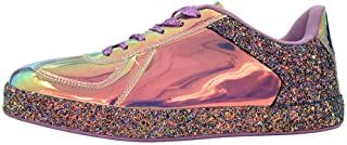 ROXY-ROSE Women Glitter Metallic Holographic Sparkle Sneakers | Shiny Snazzy Street Wedding Lace Casual Flats Sneakers