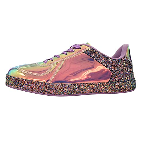 cdbeb7998537 ROXY ROSE Womens Sneaker Flats Metallic Leather Glitter Fashion Sneakers  Shoes Lace Up