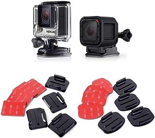 micros2u (Pack de 16) Almohadillas Adhesivas 3M de doble cara. Kit de soportes planos y curvados. Compatibles con GoPro HERO 8 7 6 5 4 3+ 3 2 y otras cámaras de acción. Perfectas para el uso en cascos
