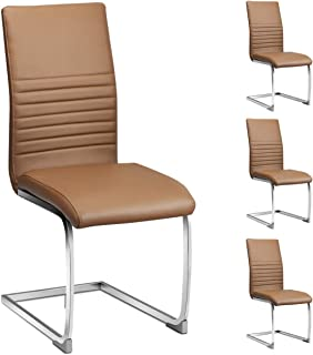 Giantex Set of 4 PU Chairs, High Back PU Leather with Solid Chrome Legs, Modern Home Kitchen Living Room Furniture, 4 Pcs PU Leather Dining Chairs (Brown)