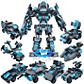 STEM Building Block Toy Transform Robot for Kids, Deformation Police Car Toy, Transforming Robot Car Toy for Boys , Engineering Educational Build Kit, Early Learning Birthday Gift for 6 Years and Up