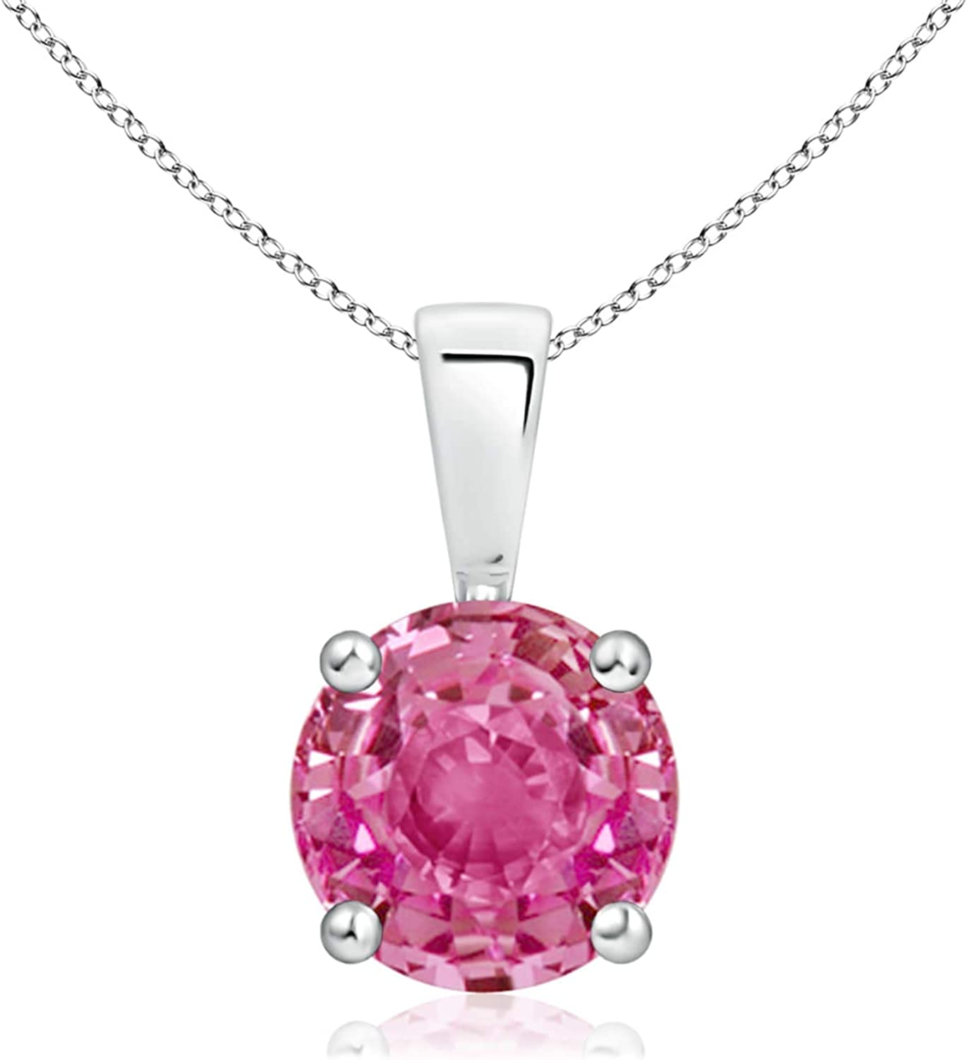 low-pricing Classic Round Pink NEW Sapphire Pendant Solitaire 7mm