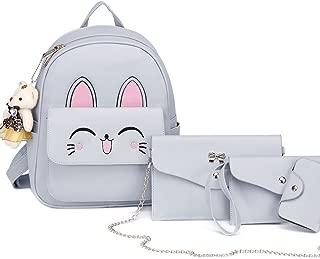DIOMO Women Cute Cat Backpacks Set for Cartoon Rabbit Small Purse Shoulder Bags