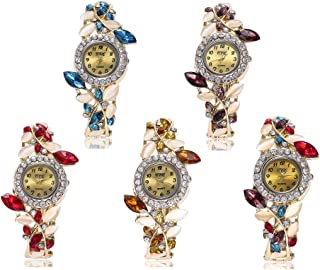Weicam Women Luxury Watch Bracelet Diamond Flower Lady Retro Wholesale Wrist Watch 5 Pack