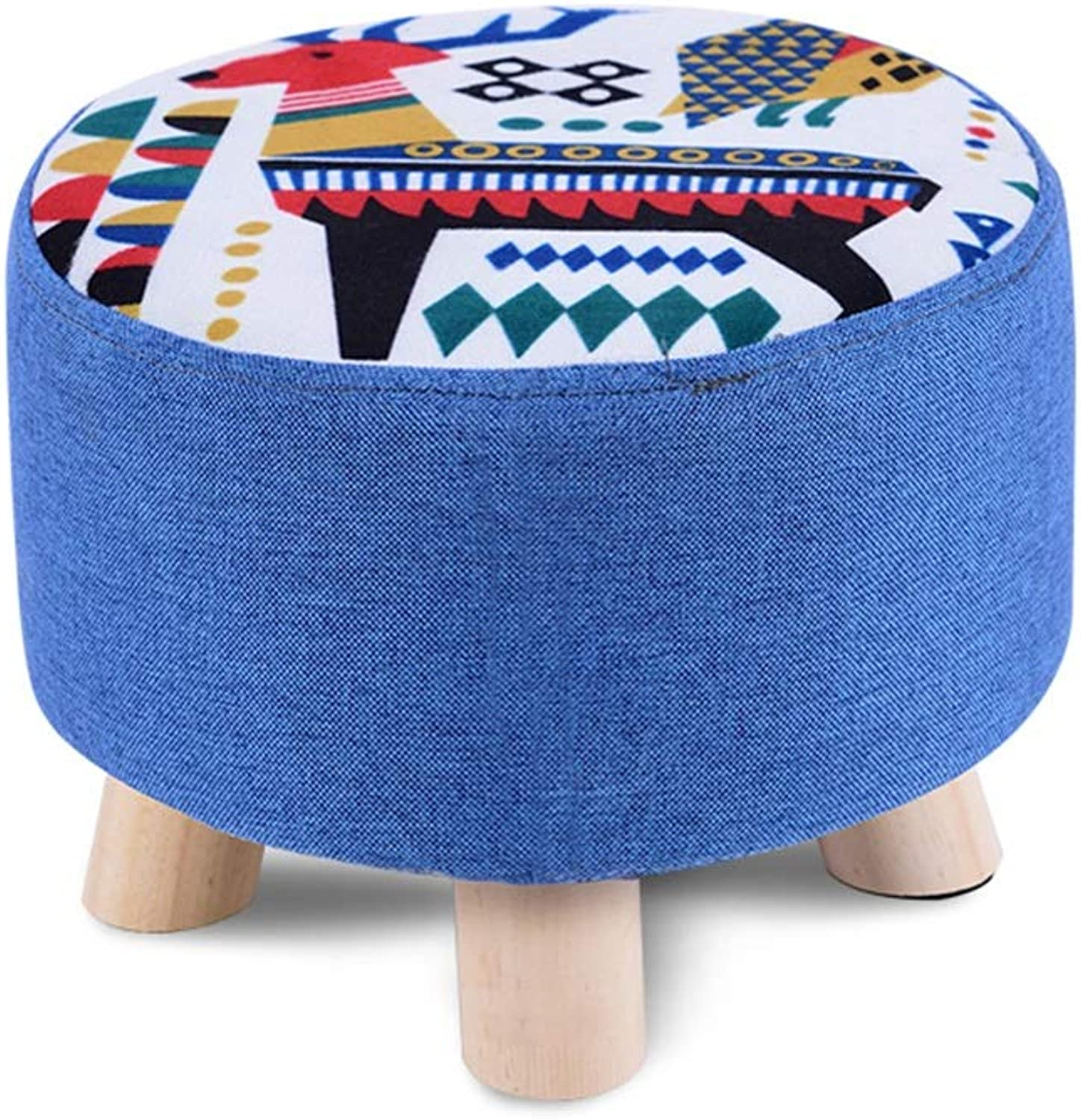 YQQ Makeup Stool, Round Stool Sofa Stool Change shoes Bench Cloth Wood 28  20CM (color   2)