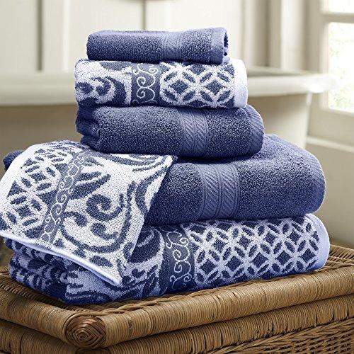 Amrapur Overseas | Trefoil Filigree 6 Piece Reversible Yarn Dyed Jacquard Towel Set (Indigo)