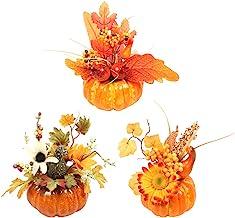 Amosfun 3pcs Adorno de Calabaza de Halloween Girasol Artificial Accesorios de decoración de otoño para Halloween