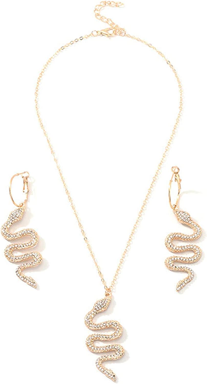 Snake Necklace Earrings Set Serpent Pendant Necklace Snake Wave Dangle Earrings Punk Gothic Necklace Charm Crystal Statement Drop Earrings Vintage Animal Jewelry for Women Girls