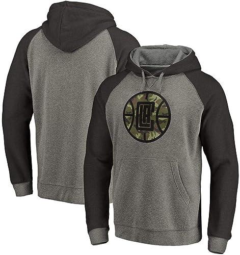 QAZ NBA sweat à capuche Los Angeles Clippers Hommes Et Femmes Jersey T-Shirt à Manches Longues Impriméà Capuche Top Décontracté Sweat-Shirt T-Shirt,gris-XL