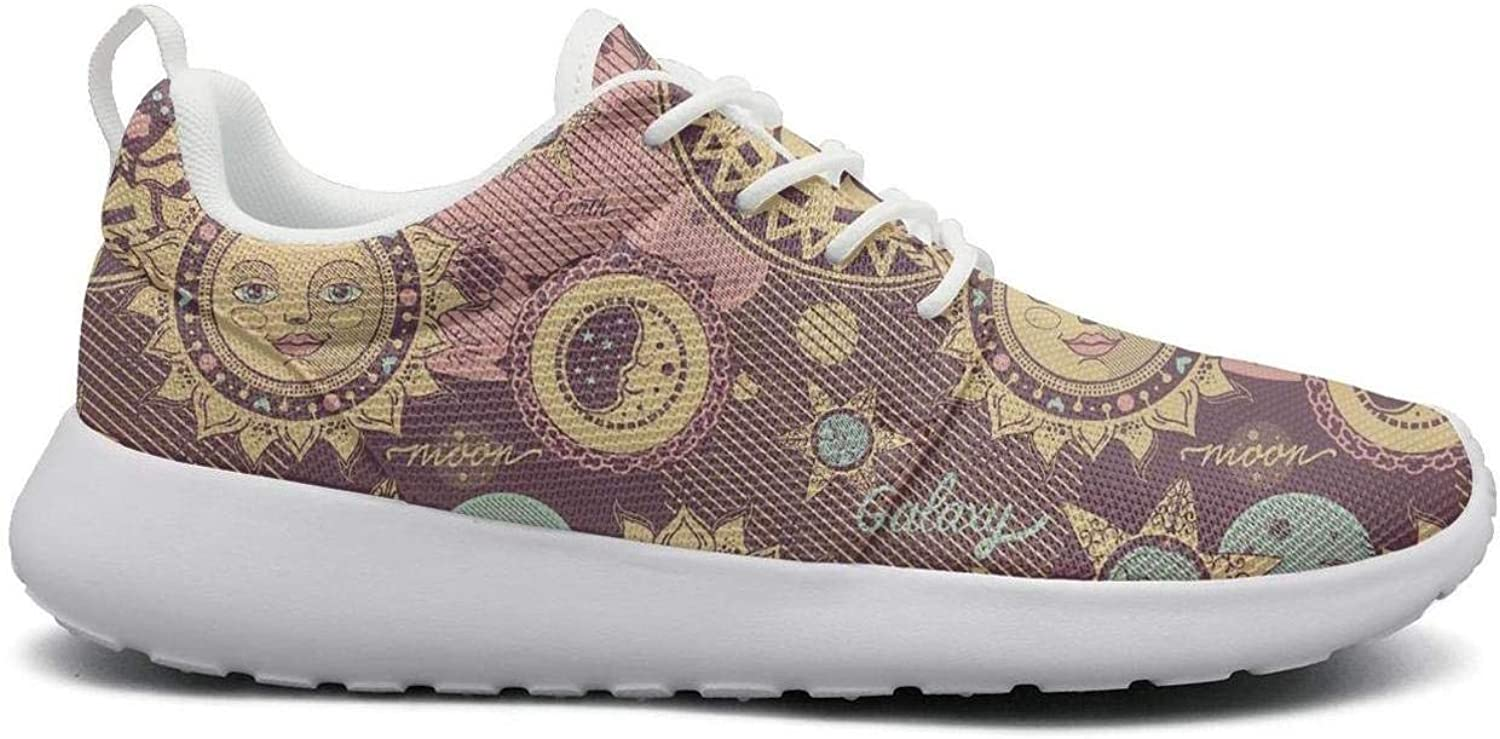 Ipdterty Wear-Resistant Climbing Sneaker Galaxy Plant Space Moon Young Women Soft Athletic Running shoes
