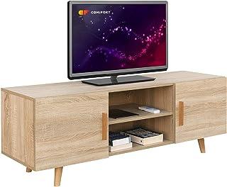 COMIFORT Mueble de TV - Mesa de Salón Moderno Estilo Nórdico Puertas con Tirador y Patas de Haya 100% Muy Resistente F...