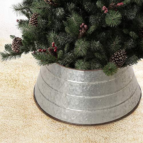 Glitzhome Galvanized Metal Christmas Tree Collar Decorations, 22-Inch Diameter Base, D, Rustic