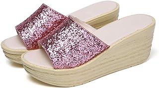 AUCDK Sandals Sandals Women Wedge Sandals Size 40 Black Sequin Wedge Flip Flops Summer Mules Sandals Peep Toe Beach Shoes