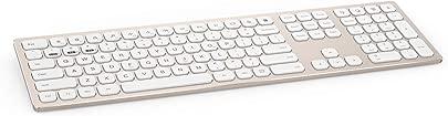 SSSLG Drahtlose Bluetooth-Dual-Mode-Office-Tastatur  Metall-ultrad nne Tastatur  kompatibel mit mobilen Desktop-PC-Laptop-Server  Multimedia-Taste 104 Taste 104 Taste Gold