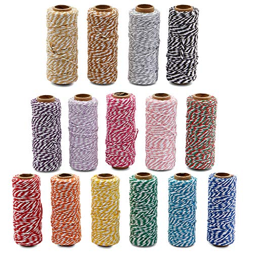 Cotton Twine String for Crafts, Jute Twine in 15 Colors (164 Ft, 15 Pieces)