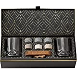 Piedras de Whisky Refrigerantes en Set de Regalo - 6 Piedras Naturales de Granito Premium - 2 Vasos de Whisky de Cristal - Bandeja de Madera -...