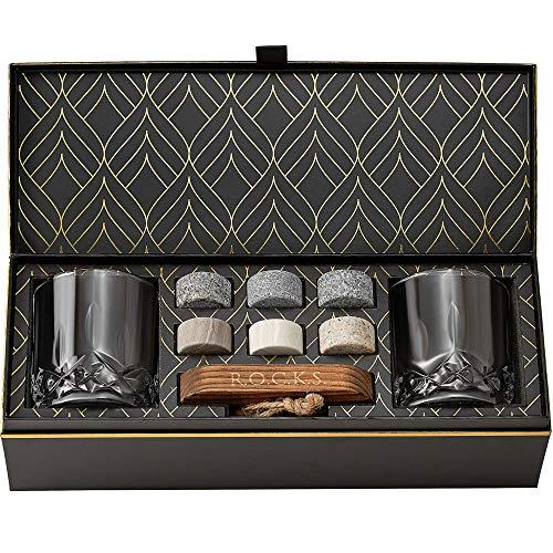 Set Whisky con Pietre Whisky Refrigeranti - 6 Cubetti per Whisky in Granito Artigianali - 2 Bicchieri Whisky in Cristallo - Vassoio in Legno Duro - Elegante Confezione Regalo Laminata d'Oro R.O.C.K.S