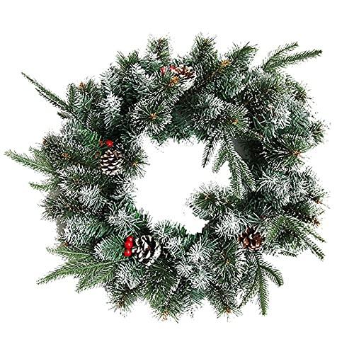 guirnalda LIU- Corona De Navidad De 17,7 Pulgadas, Corona De Agujas De Pino Verde Artificial con Conos De Pino Y Bayas Rojas para La Puerta De Entrada De Invierno Banquete De Boda
