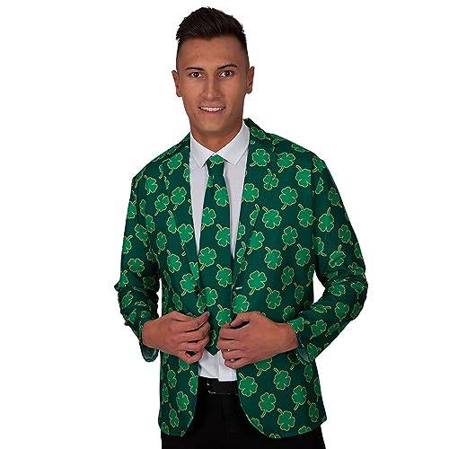Adult Mens Green Irish Shamrock St Patricks Jacket & Tie Fancy Dress (Men: Large)
