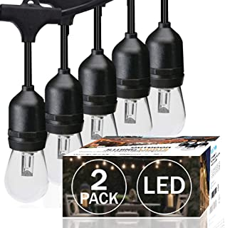 SUNTHIN Pack of 2 48ft LED String of Lights with 15 x E26 Sockets and Hanging Loops 18 x 0.9 Watt S14 Bulbs 3 Spares Indoor Outdoor String Lights Commercial String Lights Light Strings