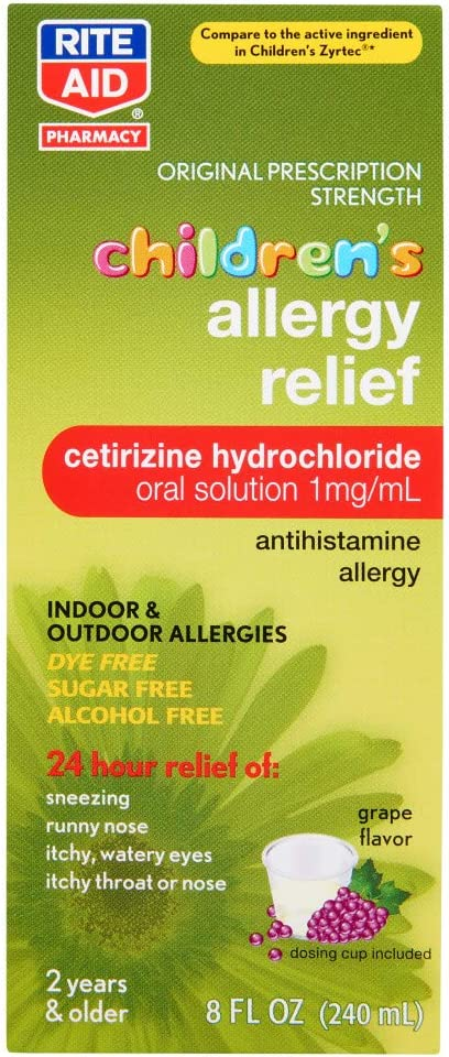 Rite Aid Children's Allergy Relief Grape Branded goods Cheap with Flavor Cetirizine