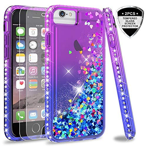 iPhone 8 Plus Case, iPhone 7 Plus Case, iPhone 6 Plus Clear Glitter Case with Tempered Glass Screen Protector [2 Pack] for Girls Women, LeYi Phone Case for Apple iPhone 6s Plus ZX Purple/Blue