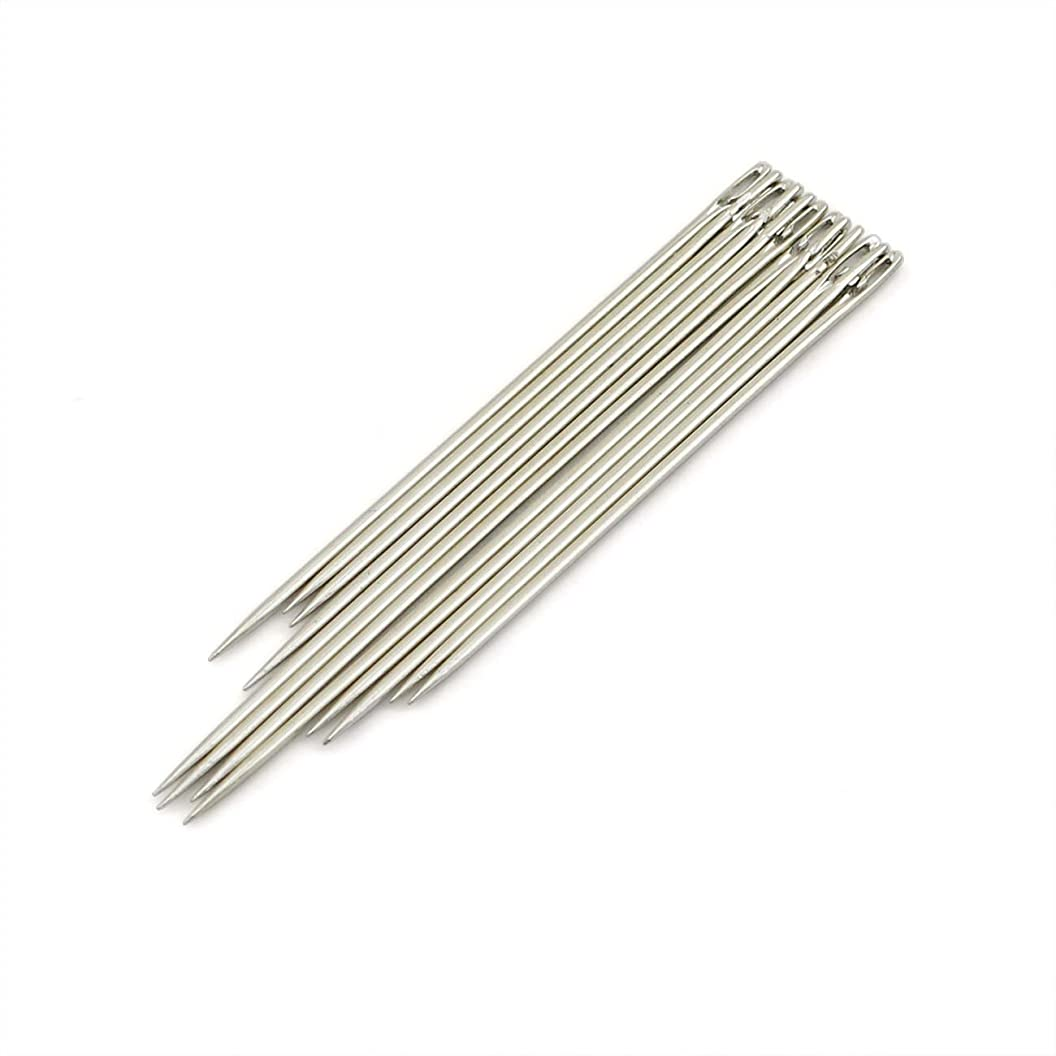 PZRT 12-Pack Blind Needles Assorted Self-Threading Easy to Go Through from Side Hand Sewing Embroidery Tool DIY Needlework Lengthen Type jsvpvwogibp83